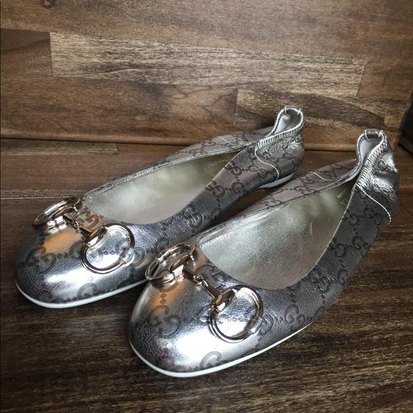 be26164e927 Gucci Shoes - Gucci Horsebit Metallic Ballet Flats SZ 8.5